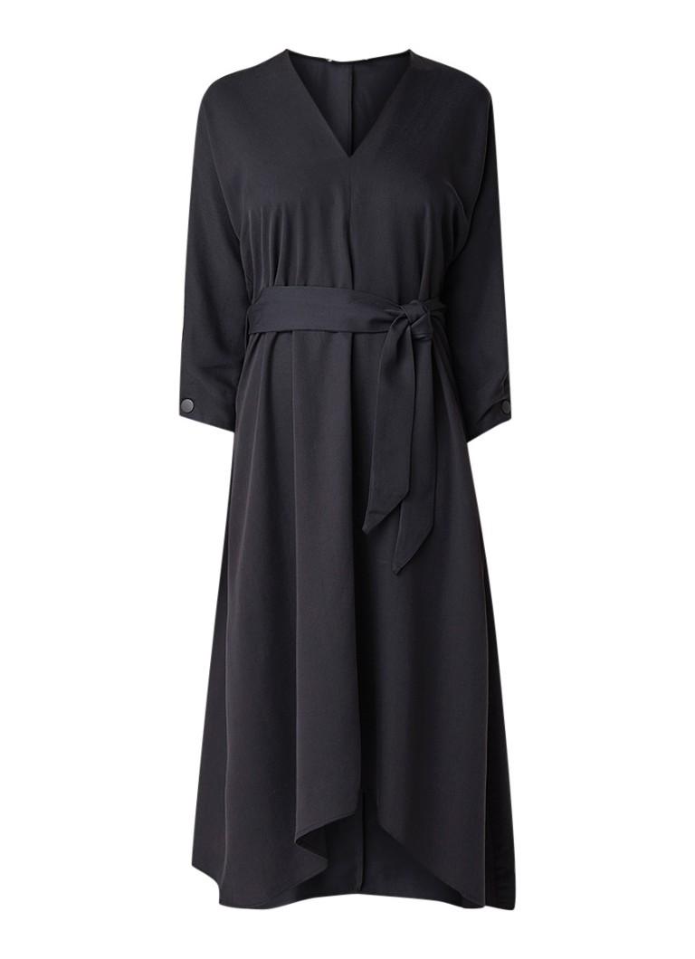 Mango Peonia midi-jurk van lyocell met strikceintuur antraciet