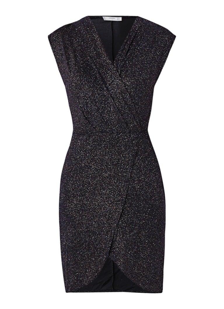 Mango Brilli mini-jurk met overslag en lurex donkerblauw