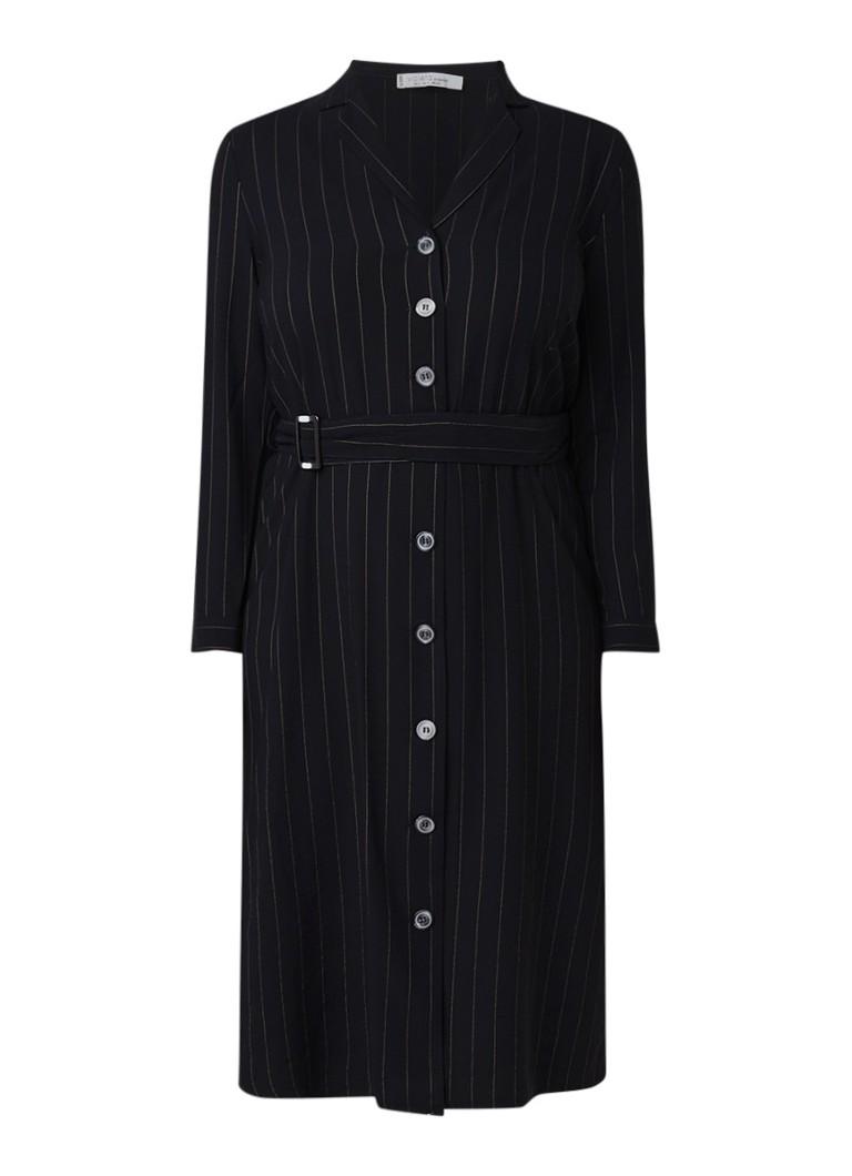 Mango Sola blouse-jurk met streepdessin en ceintuur zwart