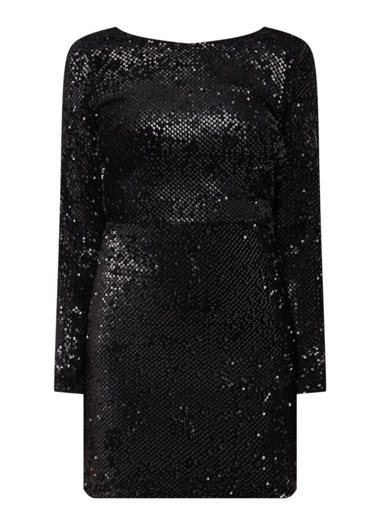 Mango Quim getailleerde jurk met pailletten en rugdecolleté zwart