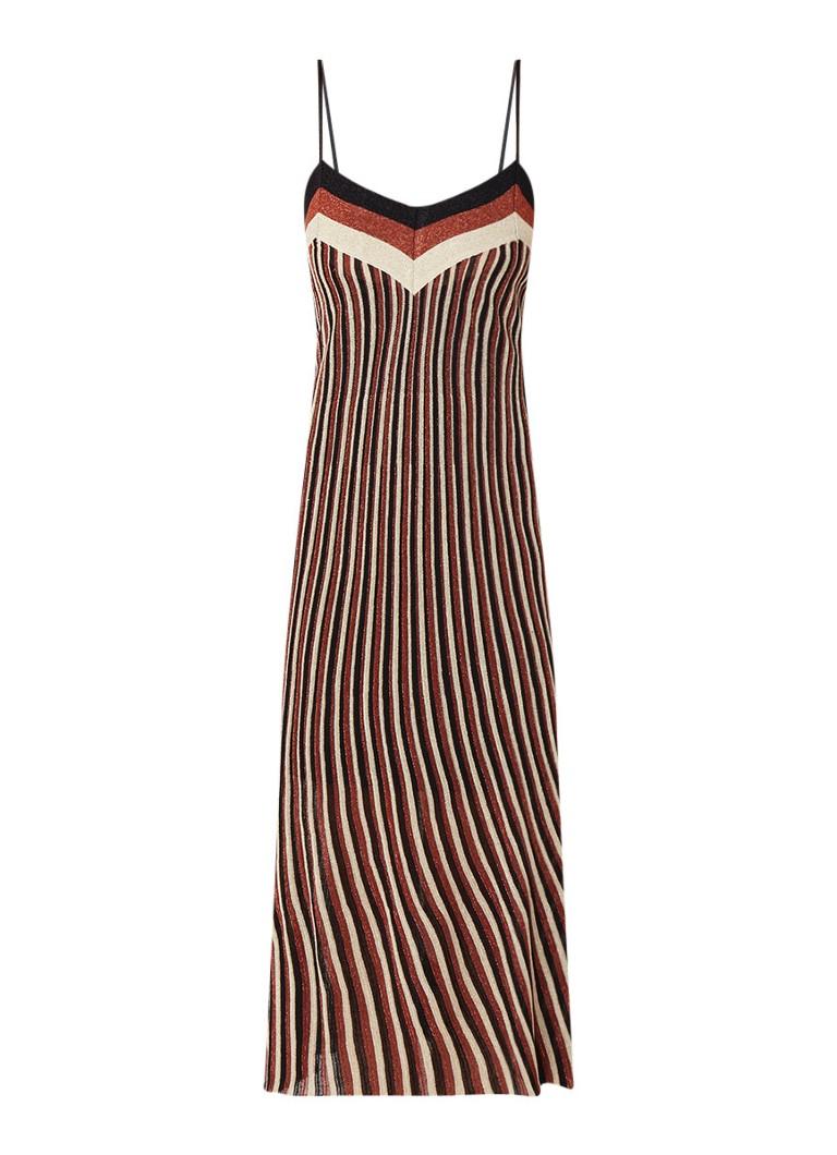 Mango Date fijngebreide jurk met spaghettibandjes en lurex koper