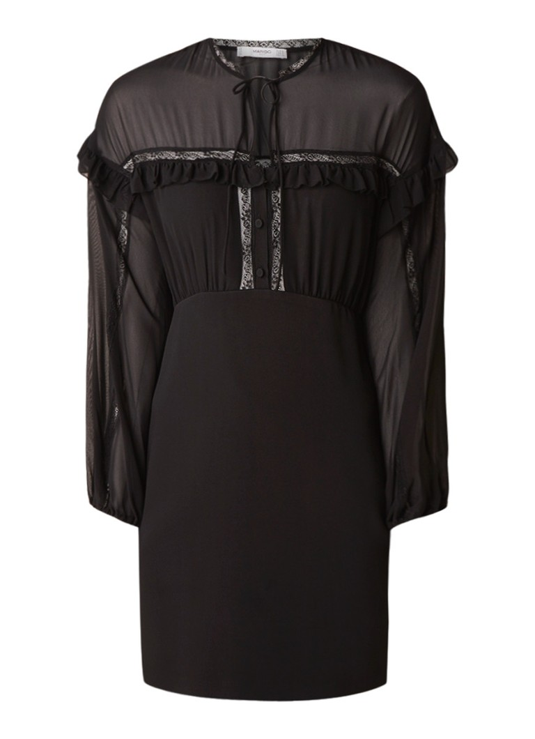 Mango Candy semi-transparante A-lijn jurk met kant zwart