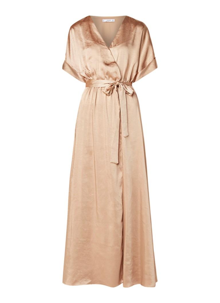 Mango Mila maxi-jurk van satijn met strikceintuur goud