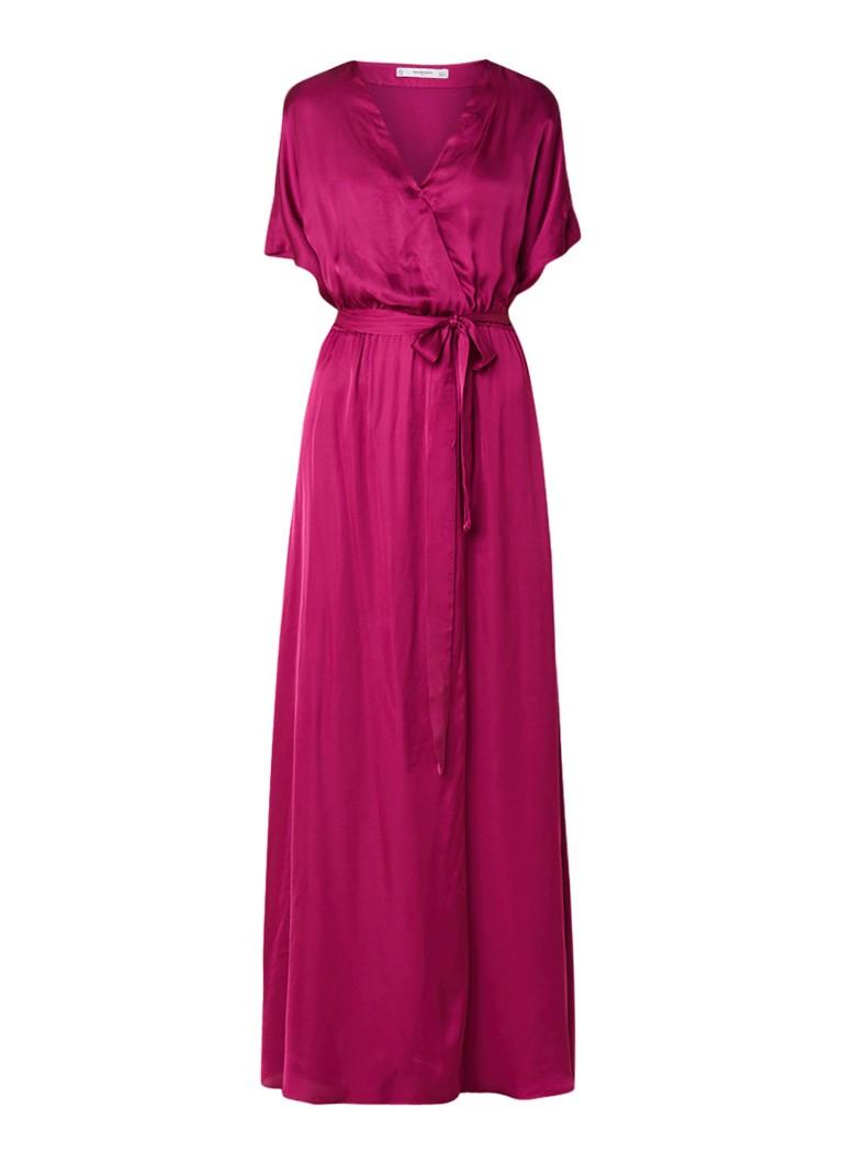 Mango Mila2 maxi-jurk van satijn met strikceintuur fuchsia