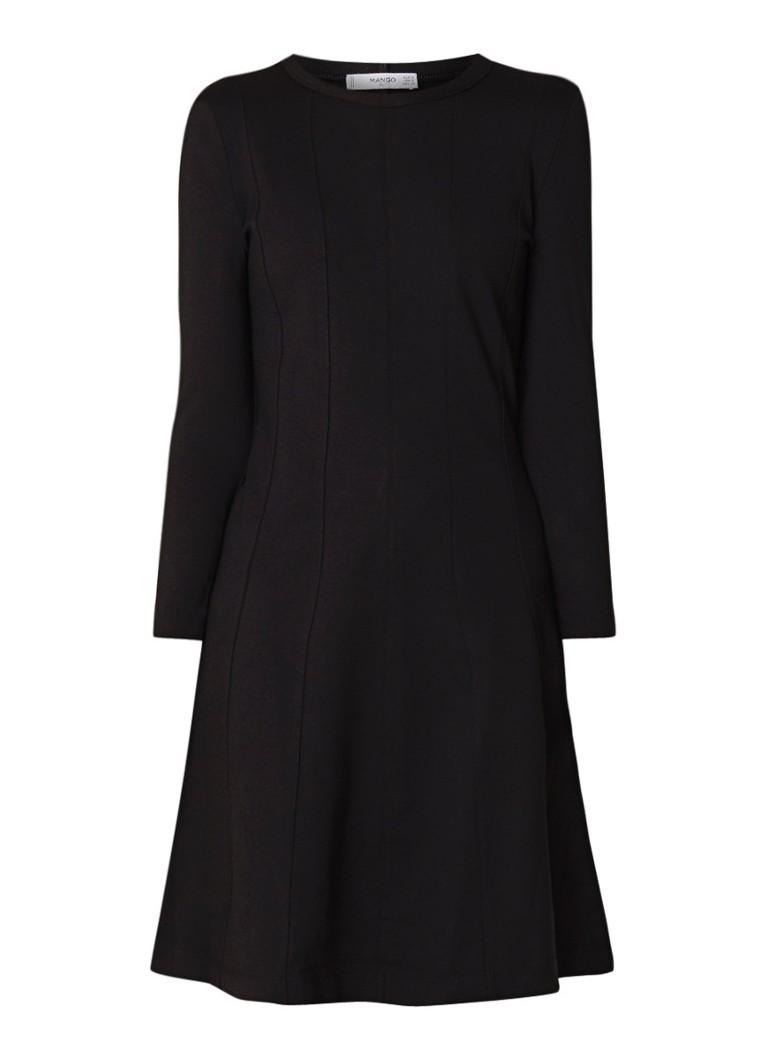 Mango A-lijn jurk van tricot met deelnaden zwart