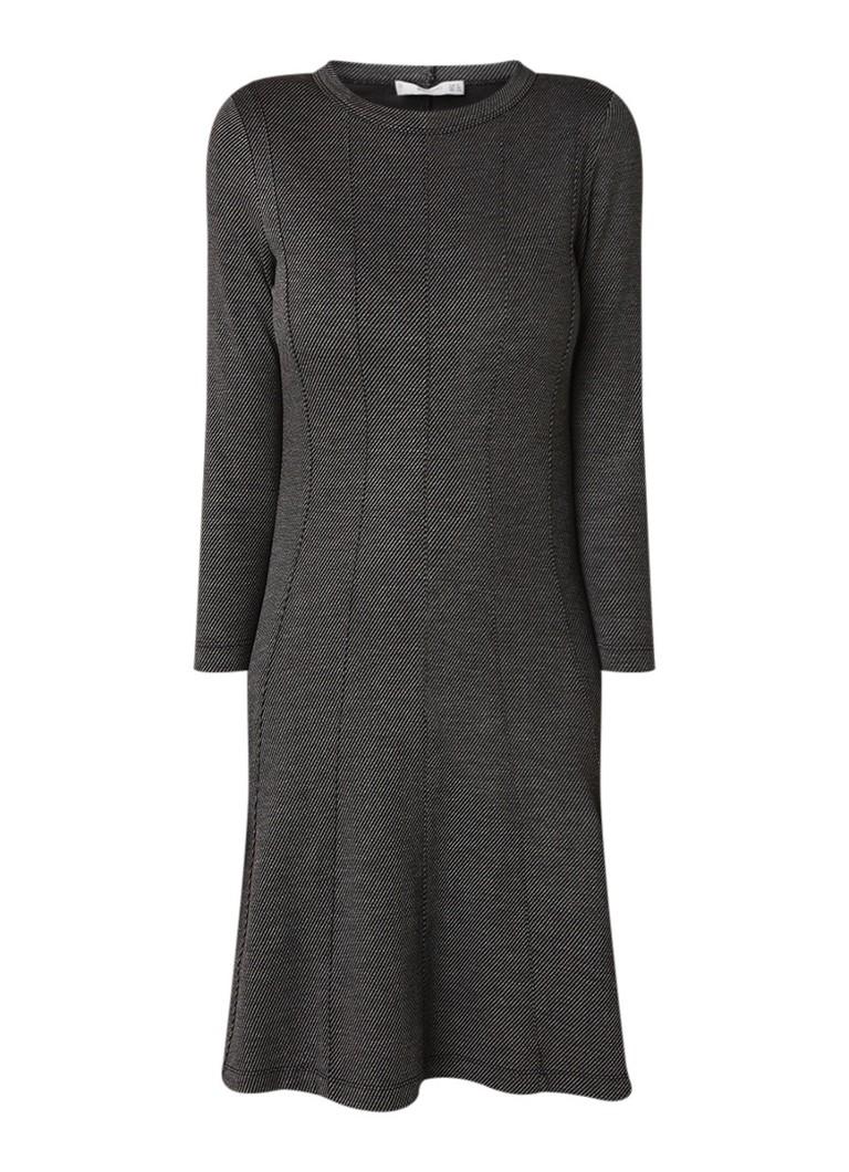 Mango A-lijn jurk van tricot met deelnaden grijs