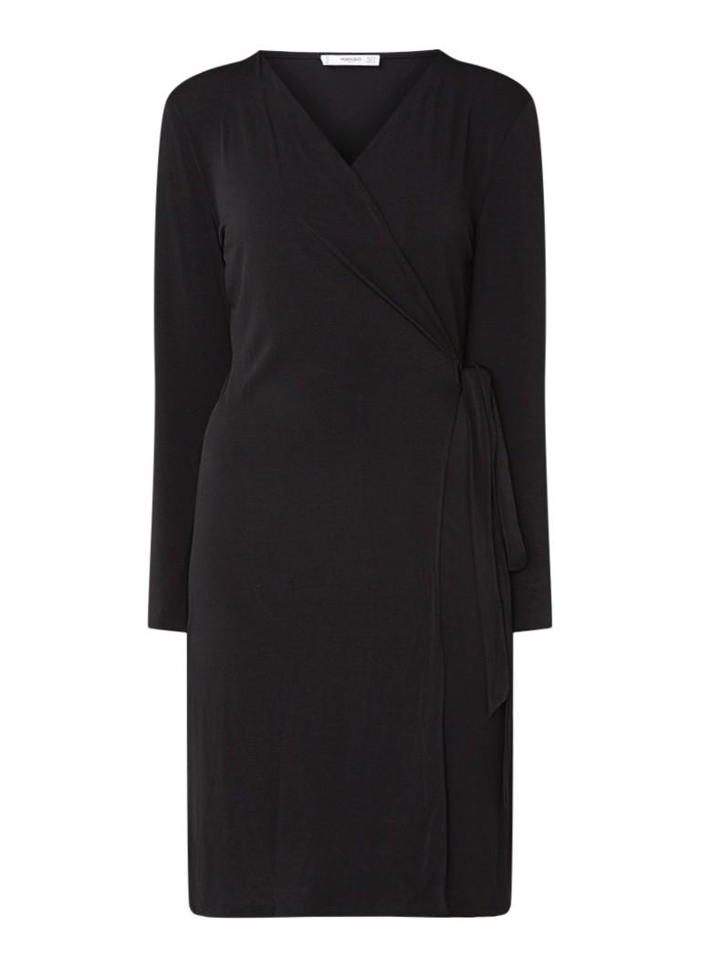 Mango Crossdi wikkeljurk van jersey zwart