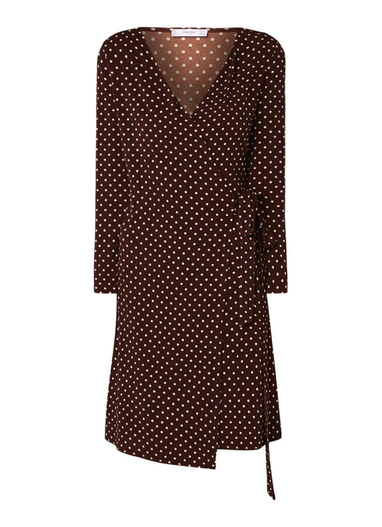 Mango Crossdi wikkeljurk van jersey met dessin bruin
