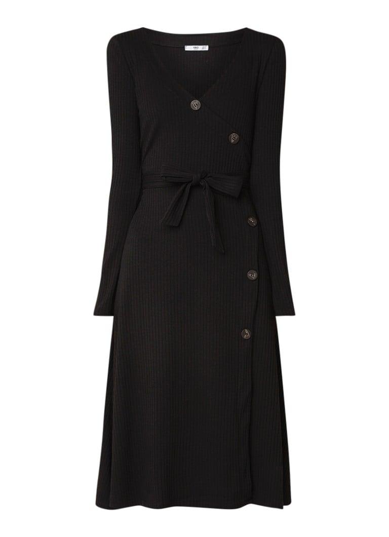 Mango Vescaro ribgebreide jurk met overslagVVescaro ribgebreide jurk met overslageVescaro ribgebreide jurk met overslagsVescaro ribgebreide jurk met o