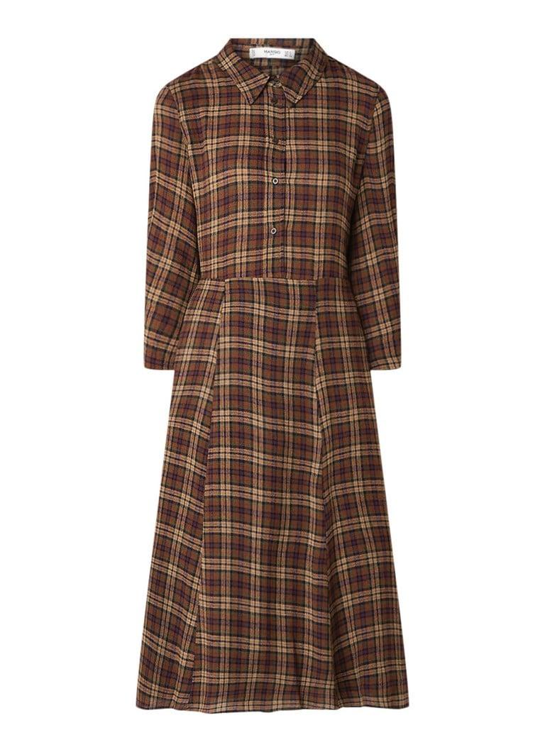 Mango Ingrid23 A-lijn blouse-jurk in wolblend donkerbruin