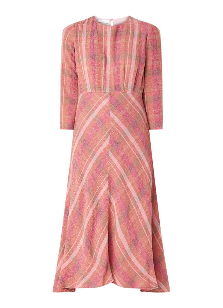 Mango Willy A-lijn jurk in wolblend met ruitdessin roze
