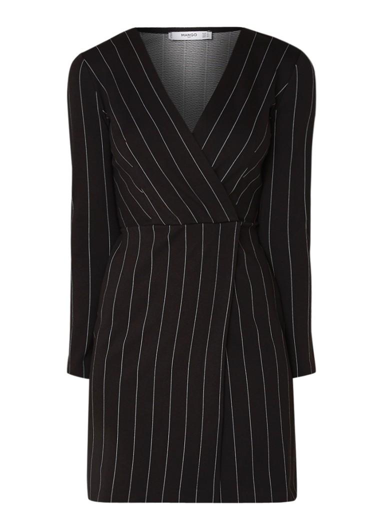 Mango Froson mini-jurk in blazerlook met streepdessin zwart
