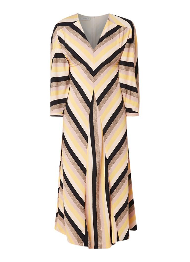 Mango Daniela A-lijn jurk met streepdessin lichtroze