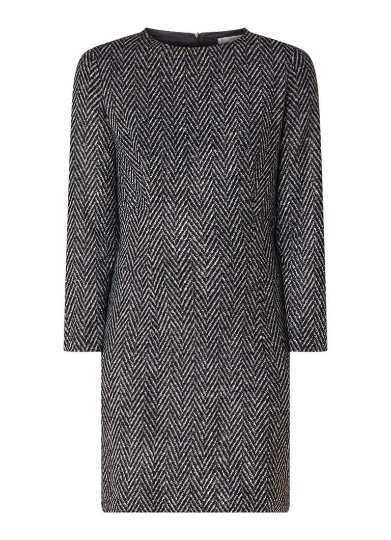 Mango Mini-jurk in scheerwolblend met zigzagdessin donkergrijs