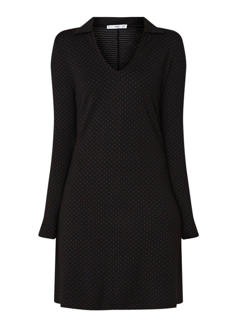 Mango Blave loose fit jurk met dessin zwart