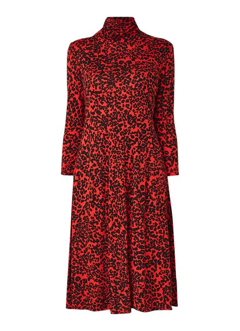 Mango Moncho midi-jurk met animal dessin rood