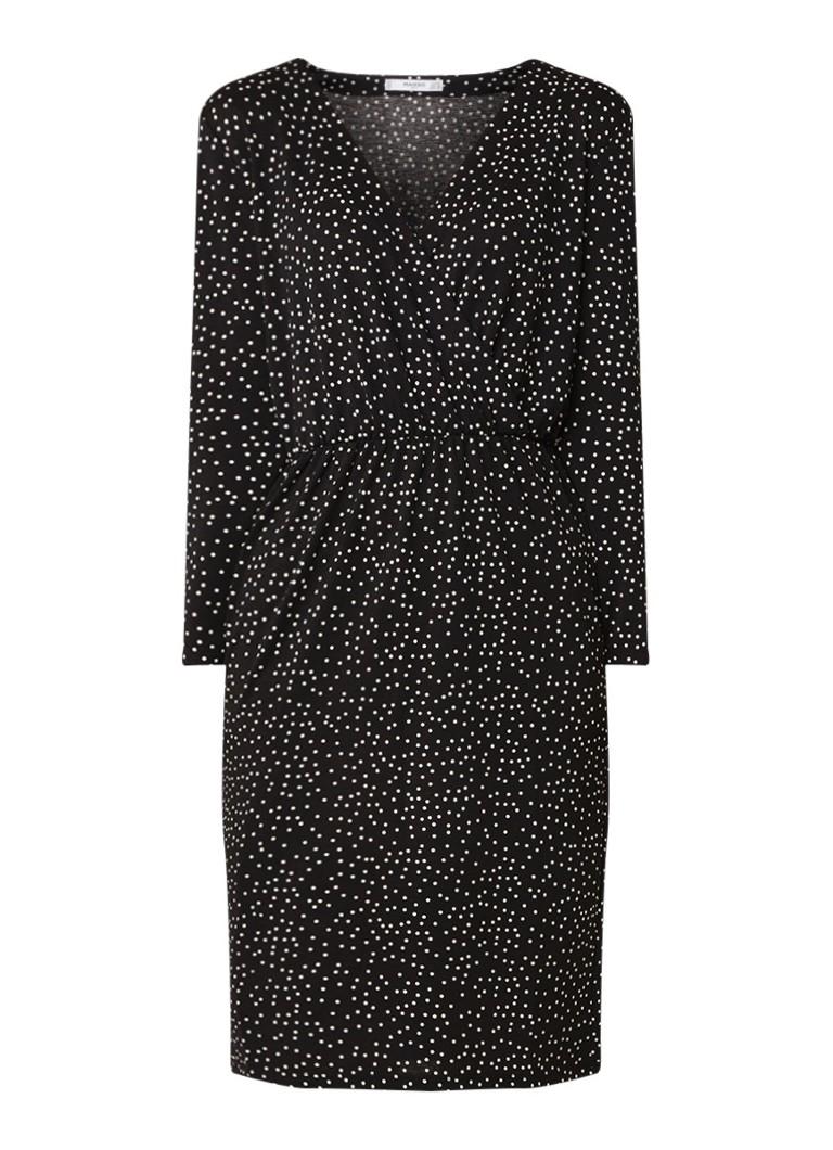 Mango Mafa midi-jurk met structuur en stippendessin zwart