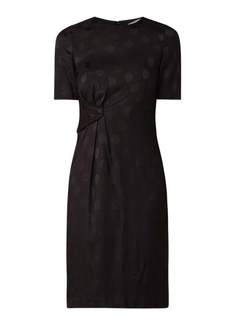 Mango Mel midi-jurk met gedrapeerd detail en stippendessin zwart