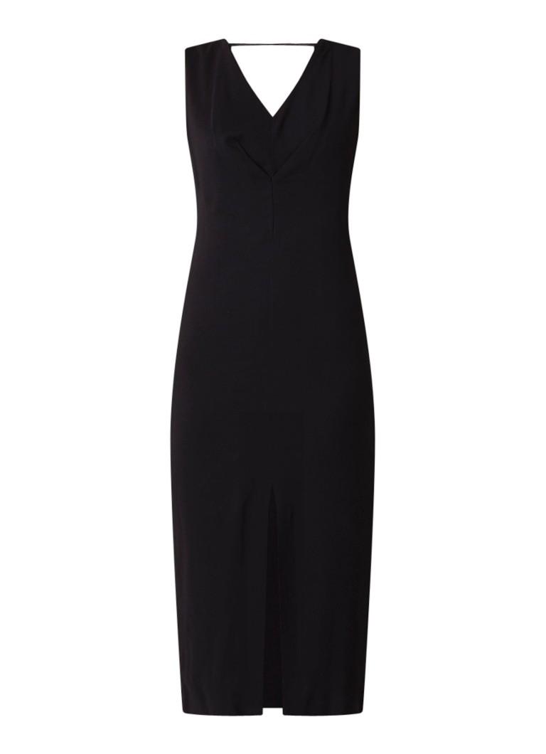 Mango Natali midi-jurk met stretch en split zwart