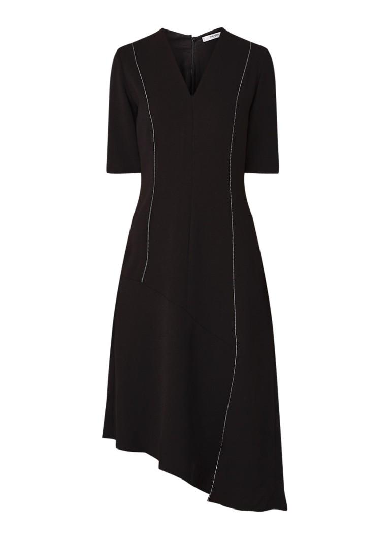 Mango Alma midi-jurk van crêpe met contraststiksels zwart