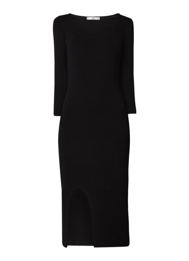 Mango Bausch fitted maxi-jurk met ronde hals zwart