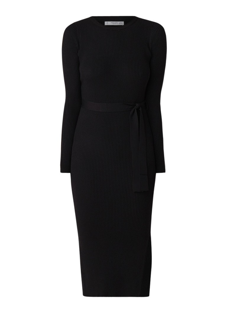 Mango Canaleta ribgebreide jurk zwart