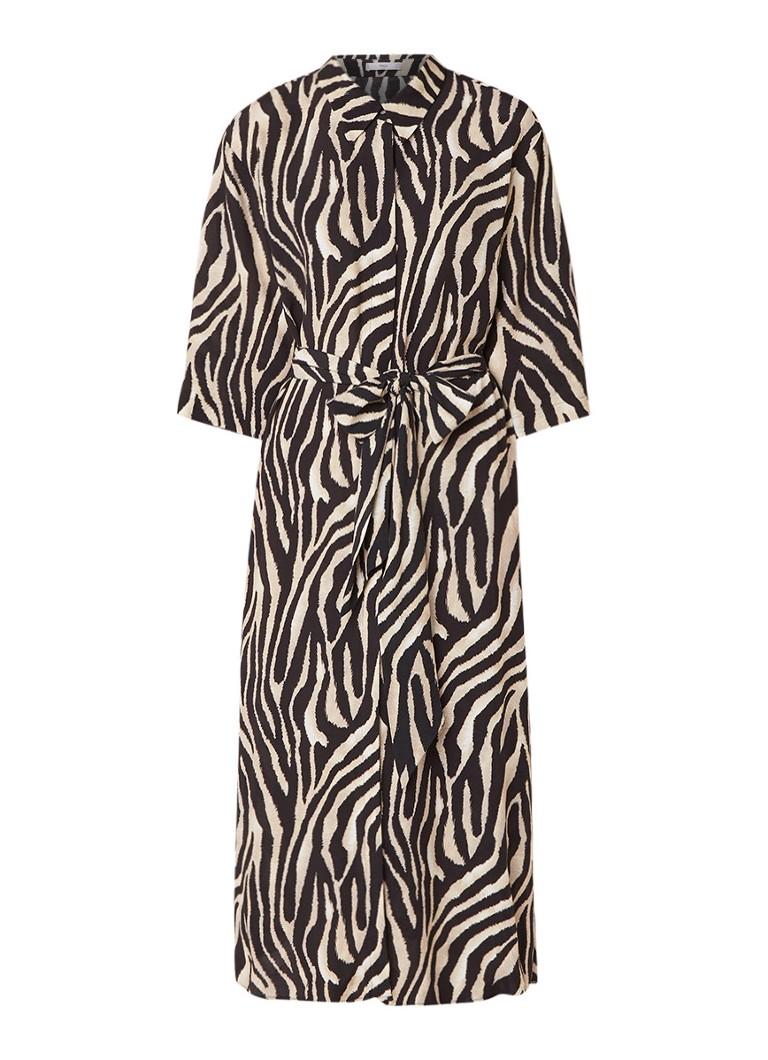 Mango Zebra blousejurk met ceintuur beige