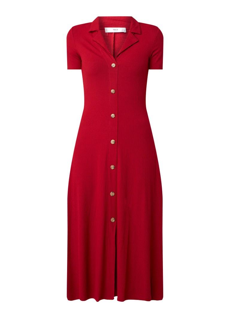 Mango Ribgebreide jurk met knoopsluiting rood
