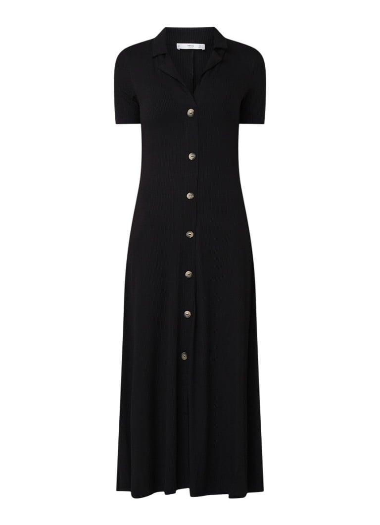 Mango Ribgebreide jurk met knoopsluiting zwart