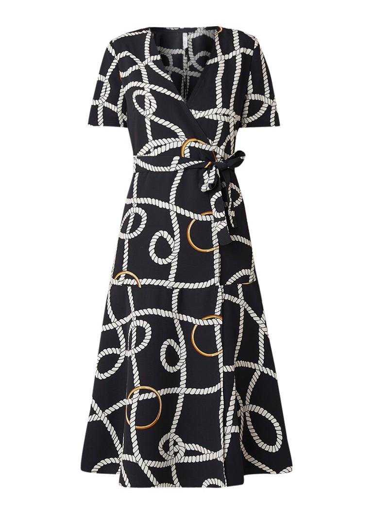 Mango Cade tuniekjurk met dessin en strikceintuur zwart