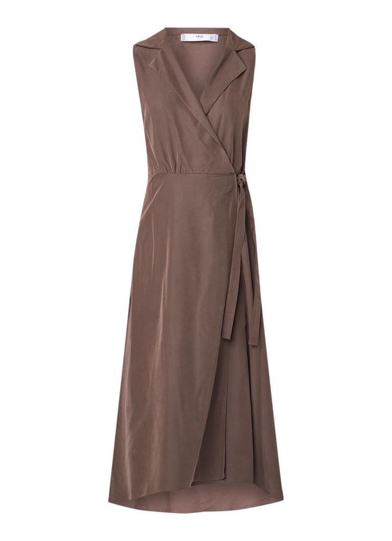 Mango Cala A-lijn jurk met overslag en knoopdetail taupe