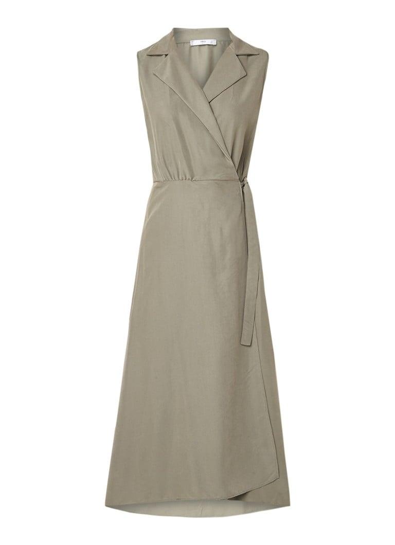 Mango Cala jurk met overslag en knoopdetail lindegroen