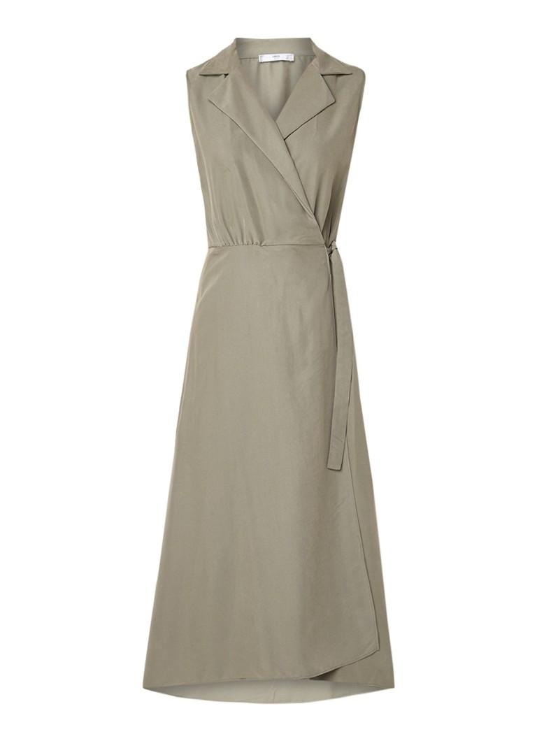 Mango Cala A-lijn jurk met overslag en knoopdetail lindegroen