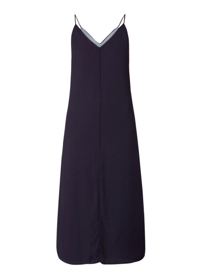Mango Doble losvallende jurk met split donkerblauw