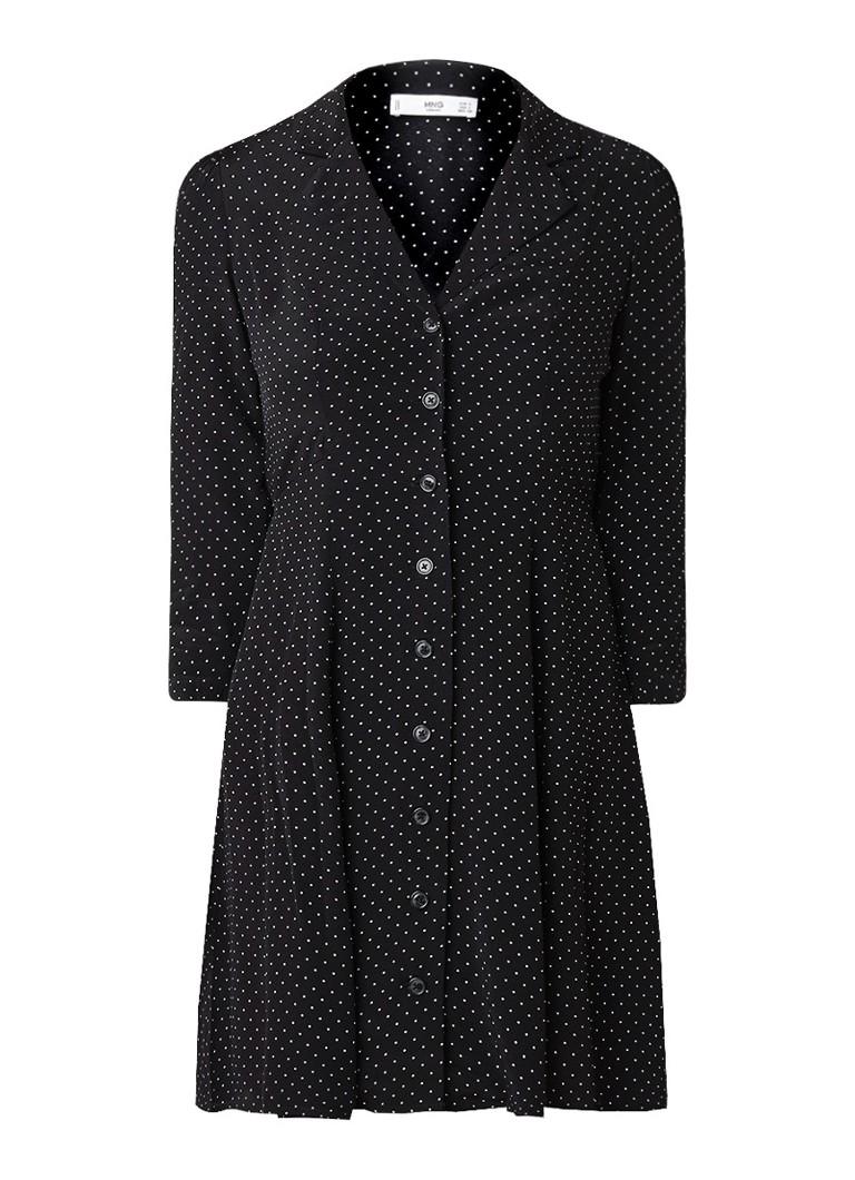 Mango Carrie blousejurk met dessin en knoopsluiting zwart