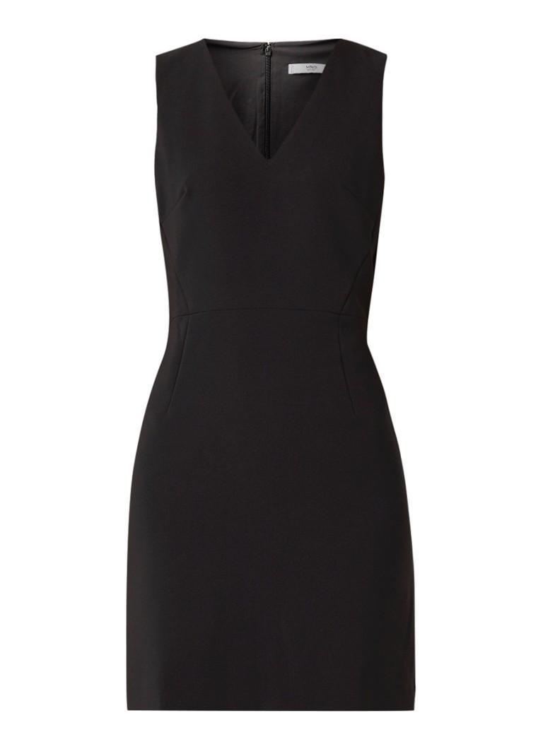 Mango Leo mouwloze mini-jurk met V-hals zwart
