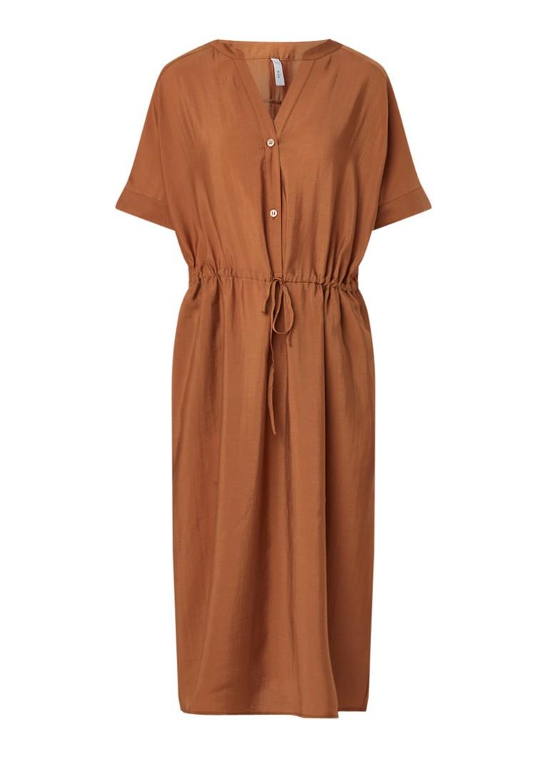 Mango Tabaco jurk met V-hals bruin