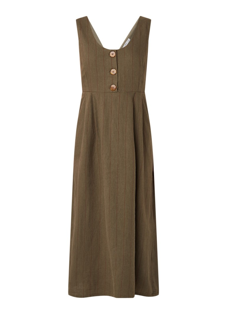 Mango Comptesa midi-jurk in linnenblend met streepdessin donkergroen