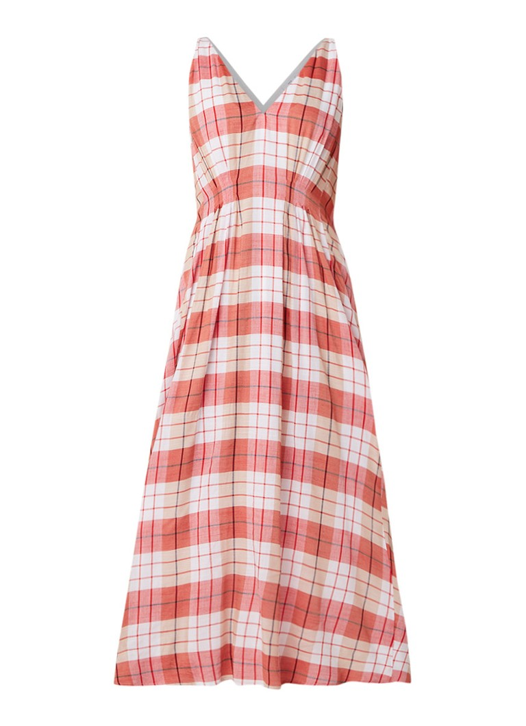 Mango Gran maxi-jurk met ruitdessin steenrood