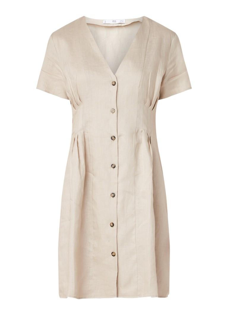 Mango Margarit jurk van linnen met V-hals beige