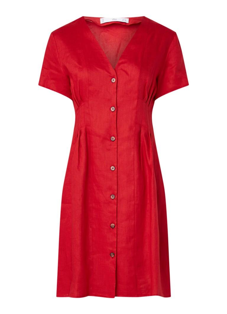 Mango Margarit jurk van linnen met V-hals rood