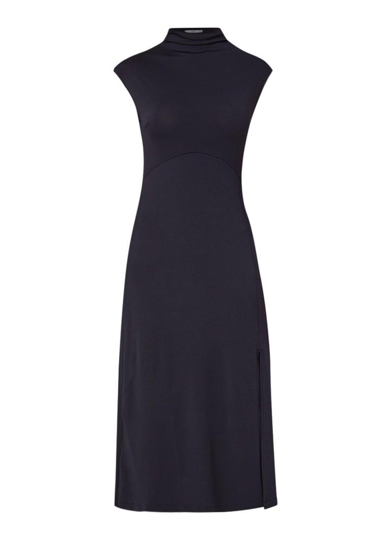 Mango Foxy midi-jurk met col en zijsplit donkerblauw