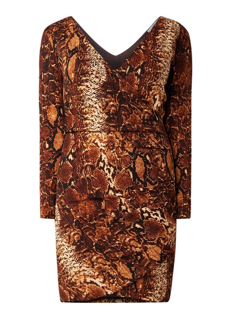 Mango Veroes mini-jurk met slangenprint bruin