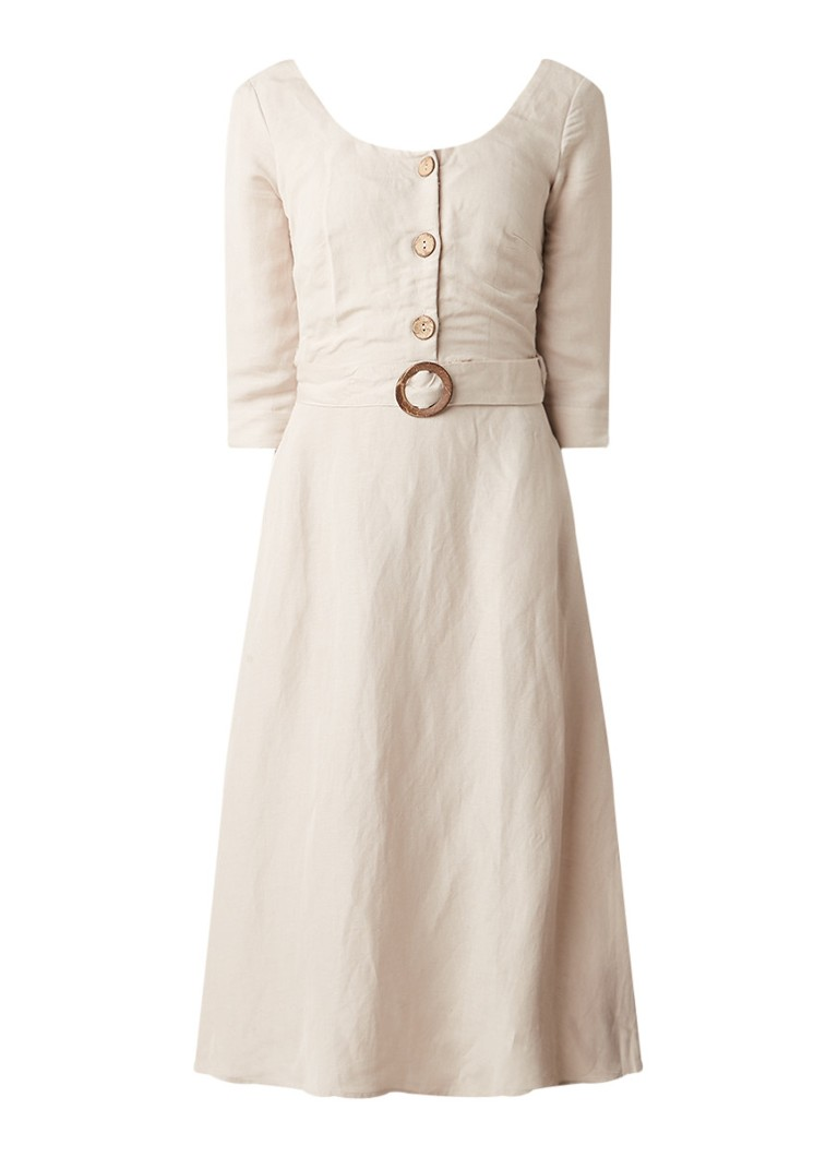 Mango Tortoise A-lijn jurk in linnenblend met ronde hals en steekzakken zand