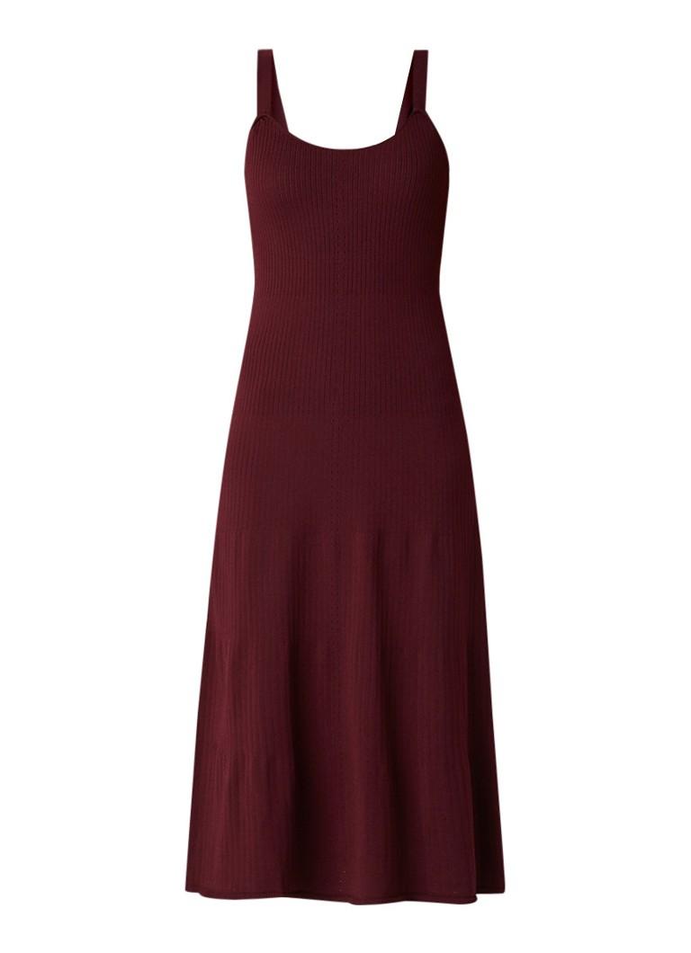 Mango Midala ribgebreide midi-jurk met opengewerkte details aubergine