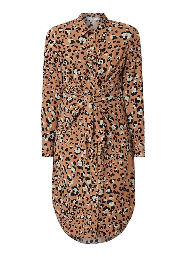 Mango Toky4 blousejurk met luipaarddessin en knoopdetail bruin