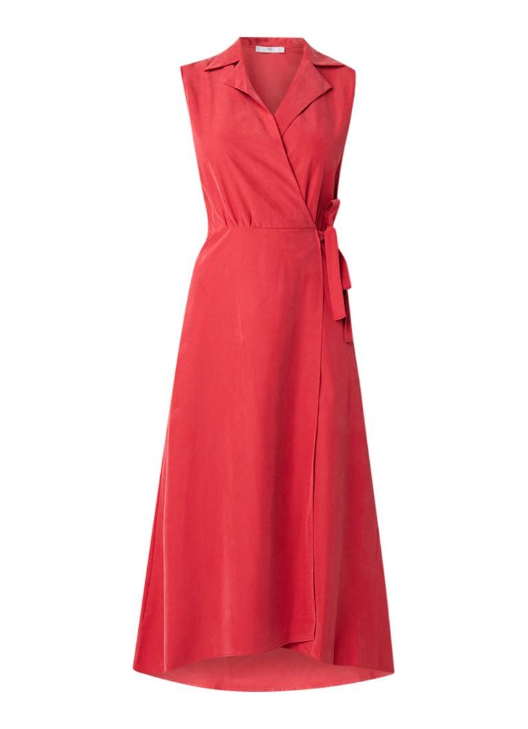 Mango Cala jurk met overslag en knoopdetail kersenrood