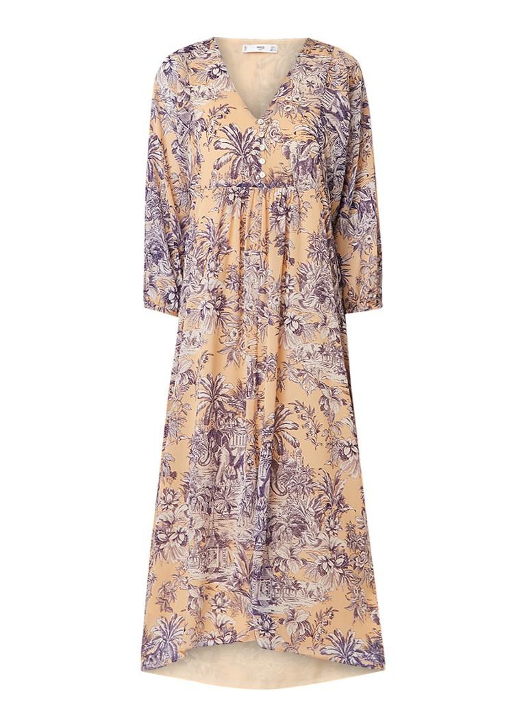 Mango Anas midi-jurk met V-hals en dessin creme