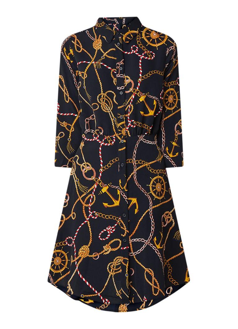 Mango Chain mini blousejurk met nautisch dessin donkerblauw