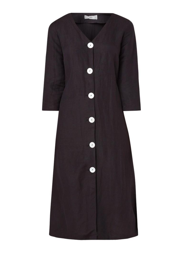 Mango Loli blousejurk in linnenblend met V-hals zwart